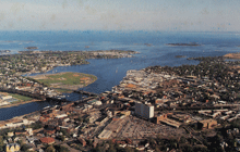 PC789 Aerial view of Norwalk Harbor and Long Island Sound, Norwalk