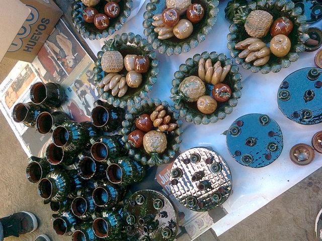 Fruteros decorativos de loza engretada patamban michoacan