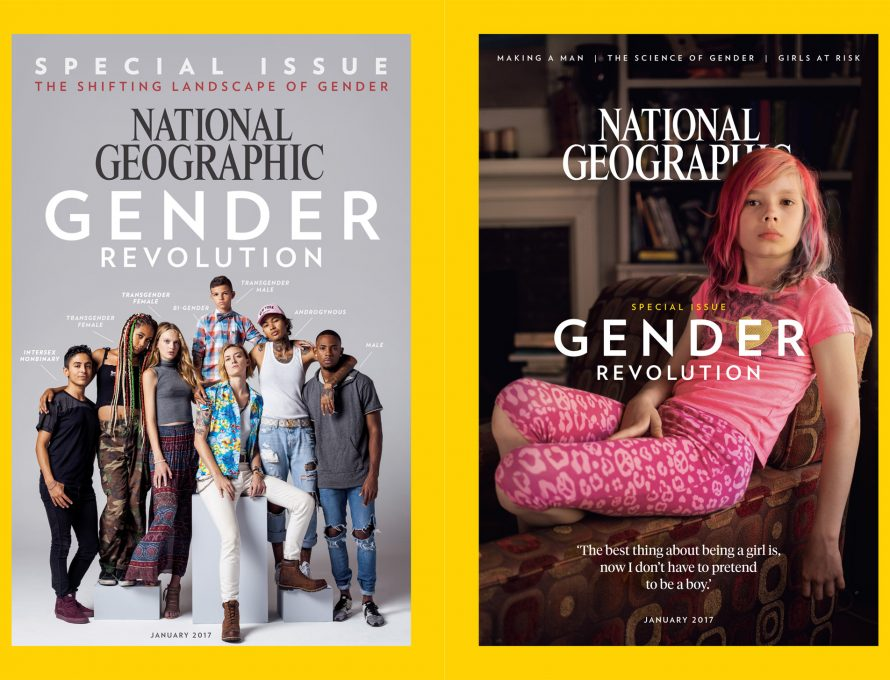 2017 issue of National Geographic feature several children and young adults said to be classified under a range of descriptors related to the two genders.