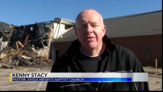 Fire destroys half of church, worship resumes next day