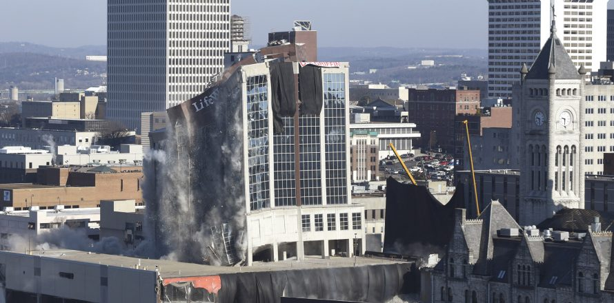 Former LifeWay tower imploded, Jan. 6