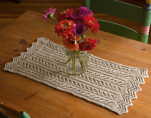 Free knitting pattern for table runners very simple free for Table knitting
