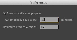 Preferences Auto Save Premiere Pro