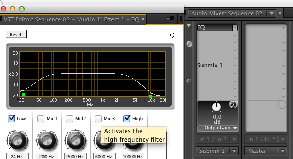Adjusting Parameters of Audio Effect in Audio Mixer