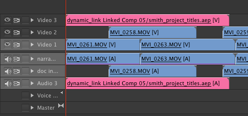 Dynamic Link in Premiere Pro Sequence