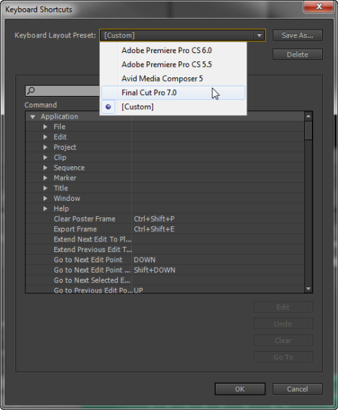 FCP/Avid shortcuts