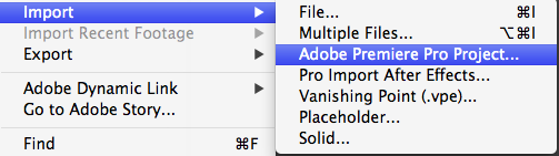 Import Premiere Pro Sequence into After Effects
