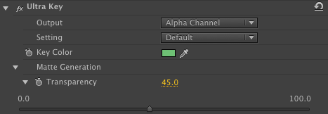 Premiere Pro ultra key transparency slider