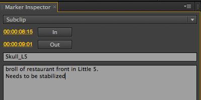 Marker Inspector in Adobe Prelude