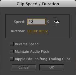 Premiere Pro Speed change to 40%
