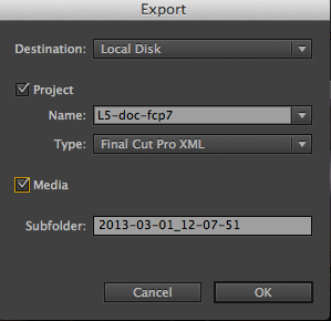Export from Adobe Prelude