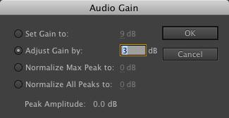 Premiere Pro audio gain