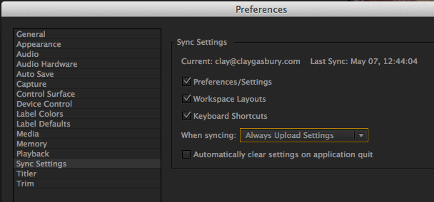 Sync Settings Preference