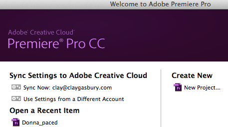 Welcome Screen Premiere Pro