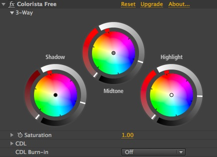 The Colorista Free settings for the above image