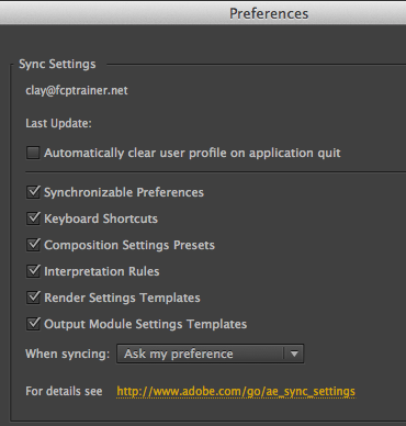 Sync Settings After Effects