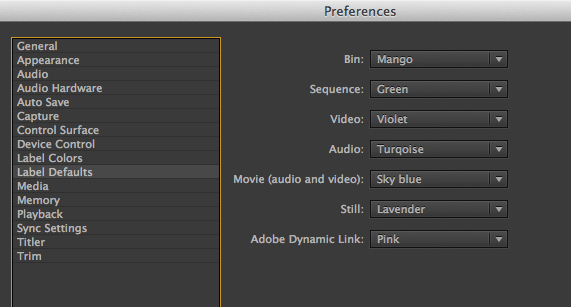how to change default colours for premiere pro cc