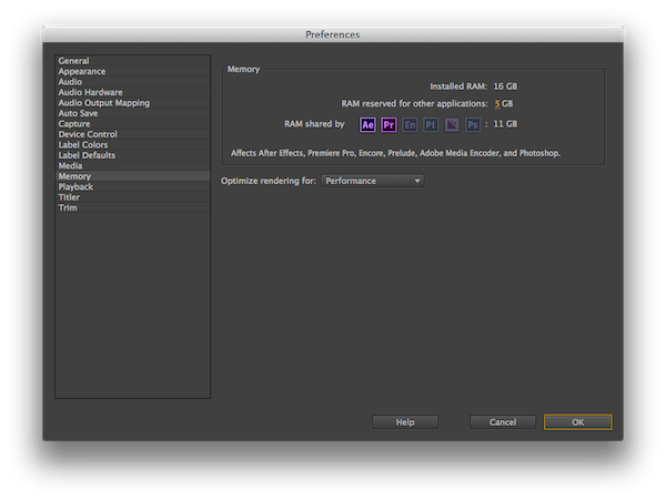 setting memory correctly in premiere pro cc