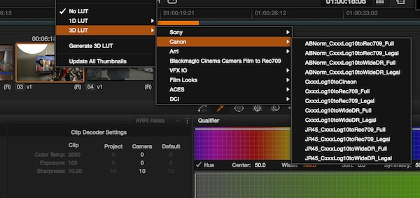 free canon log footage luts for C100  C300 C500