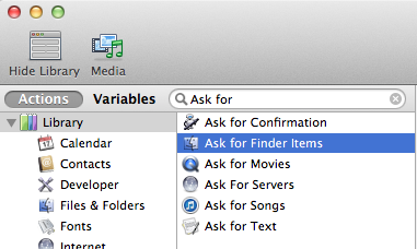 selecting automator actions