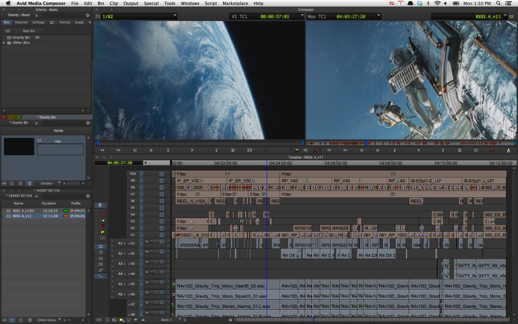 Editor Mark Sanger - Gravity - Editing timeline