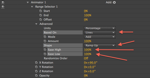 Animator 1 RS Settings