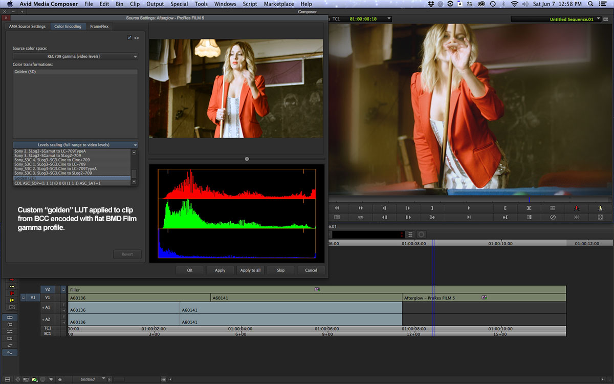 Using the Amira Colour tool in Avid and FCPX