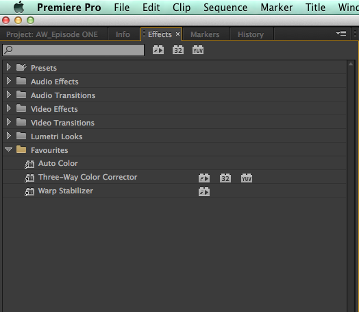 make an effects favourite bin in Premiere Pro