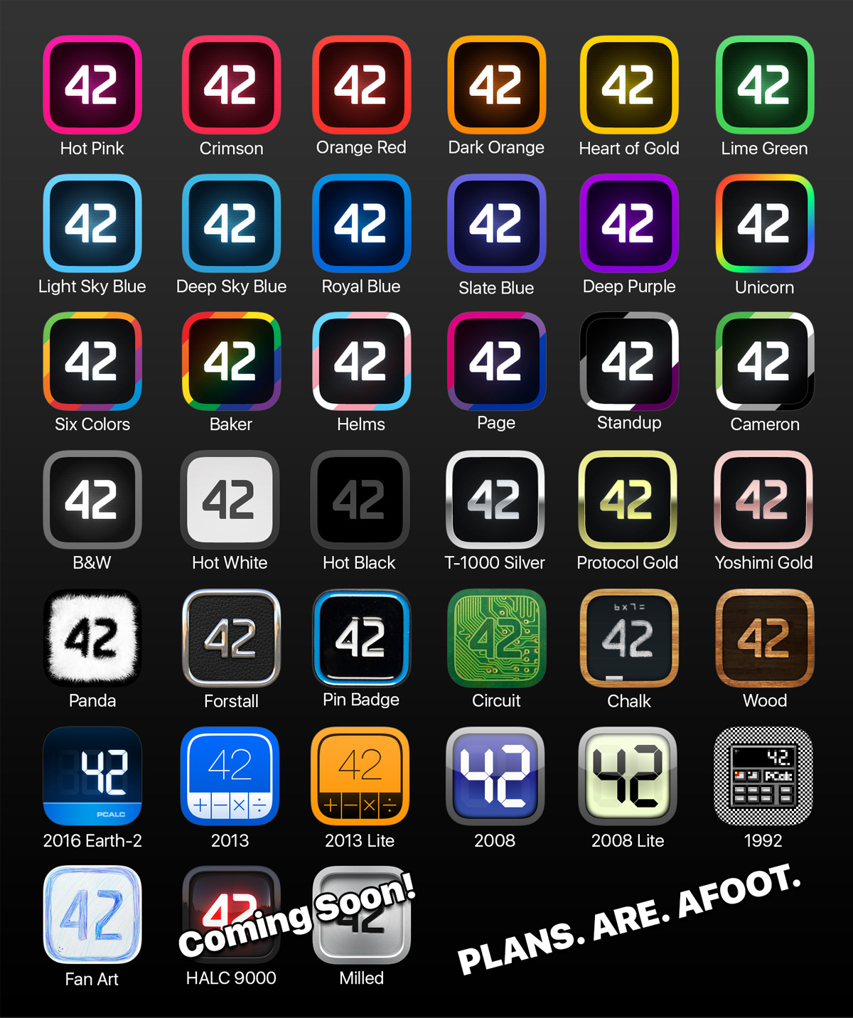 Grid of PCalc icons