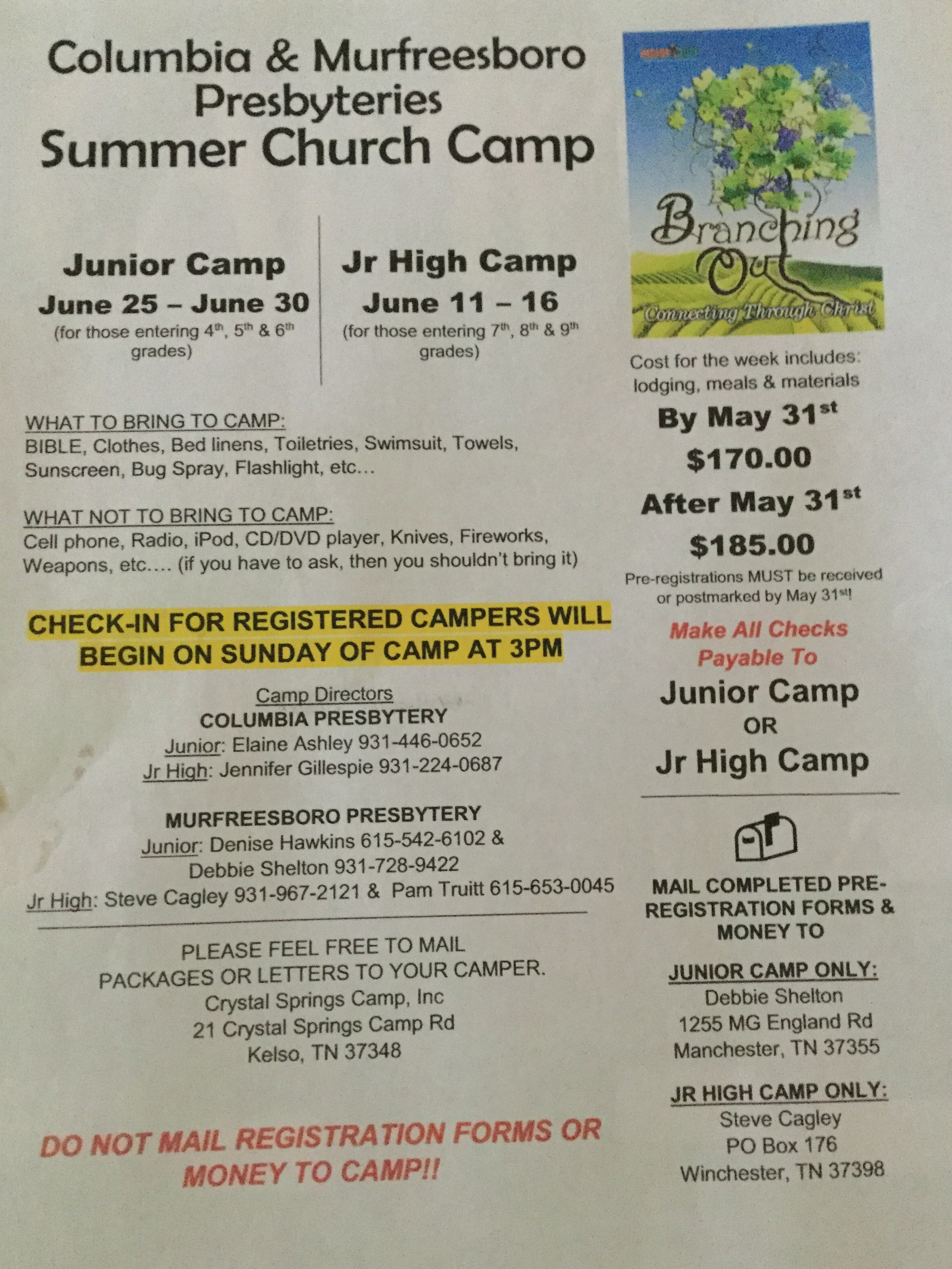 Junior and Junior High Camps