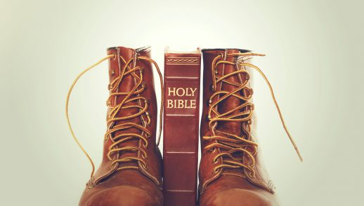 bible standing between work boots
