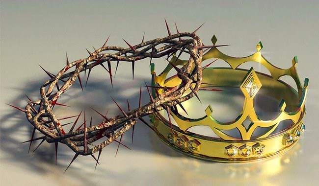 two crowns, one of thorns and the other of gold