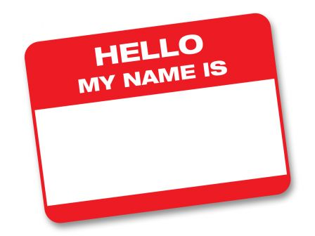 """blank name tag with the caption """"Hello my name is"""""""