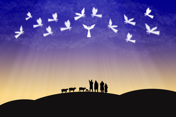 angels in a violet sky over shepherds in the field