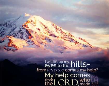 snowy mountains with the text of Psalm 121