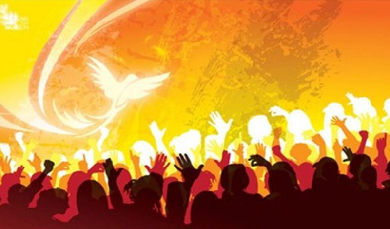 people lift up hands and the flame of the Holy Spirit moves upon them