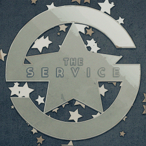 The Service pin-badge design. I love the retro-Soviet vibe the artist used