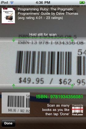 Barcode scan in Goodreads iPhone app