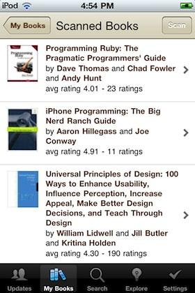 Scanned books in Goodreads iPhone app