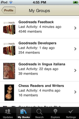My Groups page in the Goodreads iPhone app