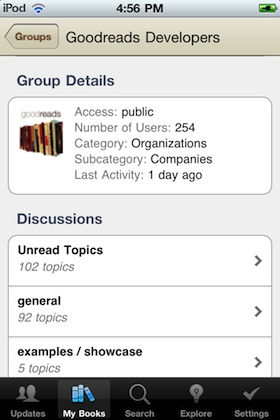 Page of a group in the Goodreads iPhone app