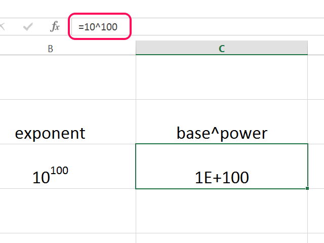 Ten to the power of 100 expressed in scientific notation is 1E+100.