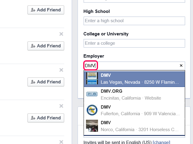 Find Friends page, with Employer field highlighted.