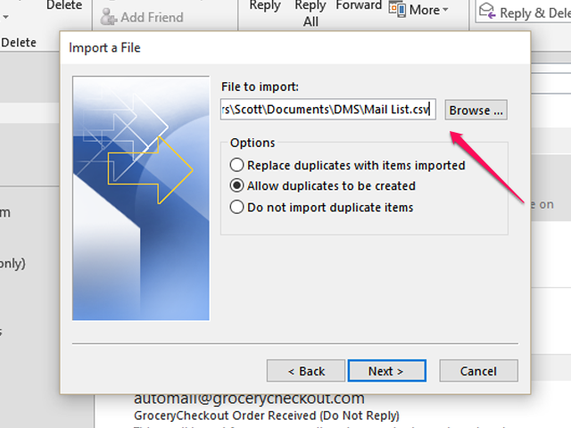 Selecting the CSV File