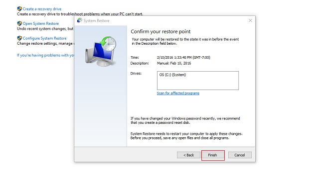 One last dialog box will ask you to confirm your restore point.