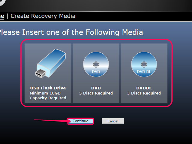 Select a backup storage device and click Continue.