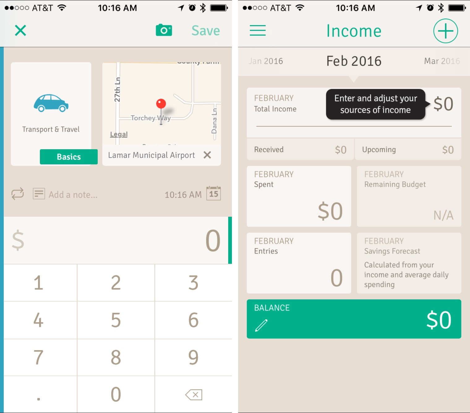 Wally expense and income screens in the mobile app.