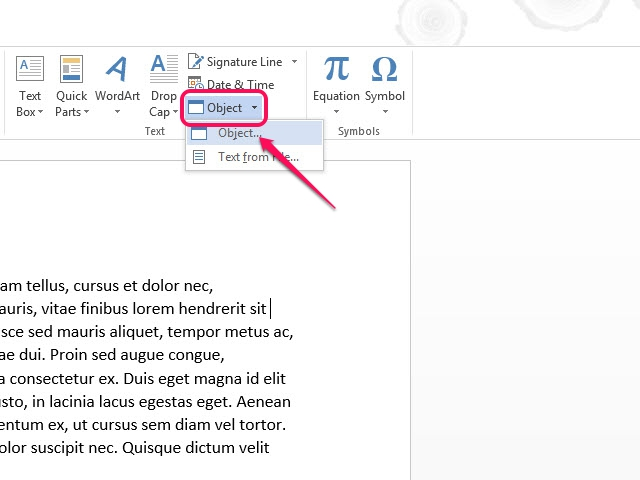 Open the Object dialog window by selecting Object from the Object menu.
