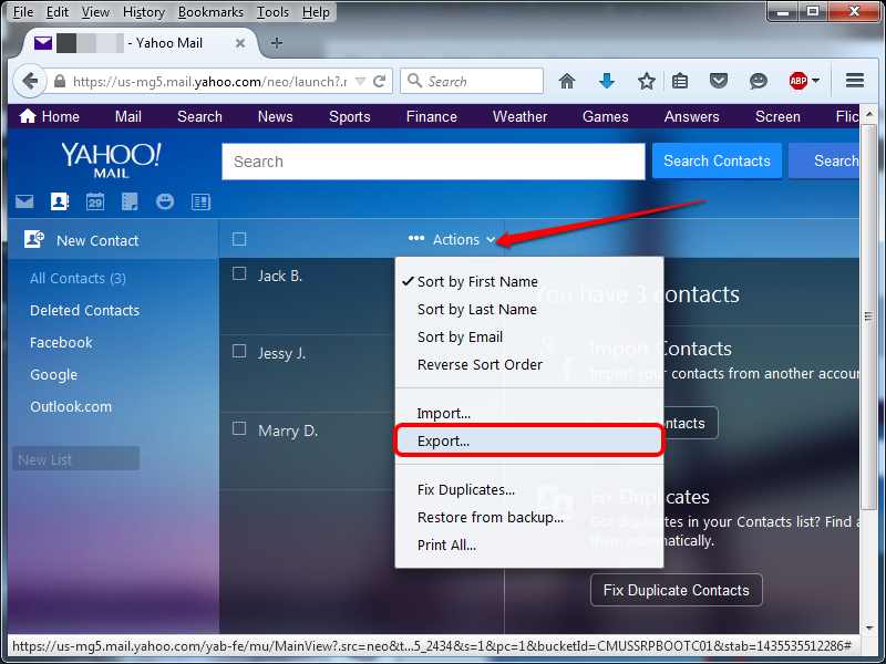 Selecting the Export option from the Actions menu.