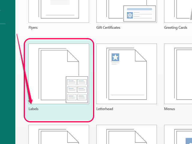 Select Labels from the list of templates.